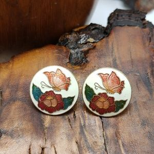 Vintage cloisonne butterfly peony Japanese Asian